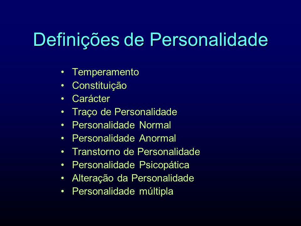 Definições de Personalidade TemperamentoTemperamento ConstituiçãoConstituição CarácterCarácter Traço de PersonalidadeTraço de Personalidade Personalid