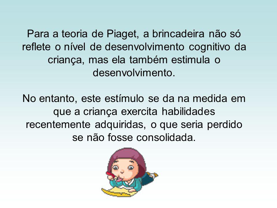 Para a teoria de Piaget, a brincadeira não só reflete o nível de desenvolvimento cognitivo da criança, mas ela também estimula o desenvolvimento. No e