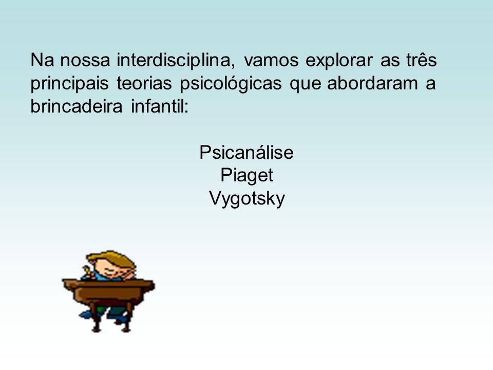 Na nossa interdisciplina, vamos explorar as três principais teorias psicológicas que abordaram a brincadeira infantil: Psicanálise Piaget Vygotsky