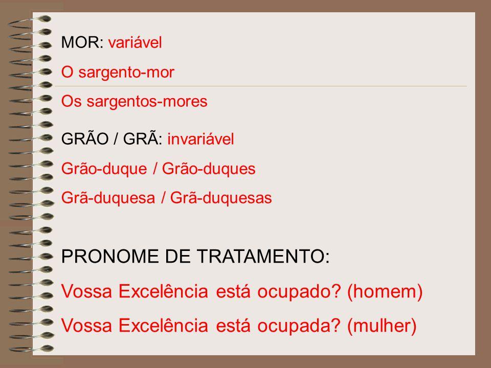 MOR: variável O sargento-mor Os sargentos-mores GRÃO / GRÃ: invariável Grão-duque / Grão-duques Grã-duquesa / Grã-duquesas PRONOME DE TRATAMENTO: Voss
