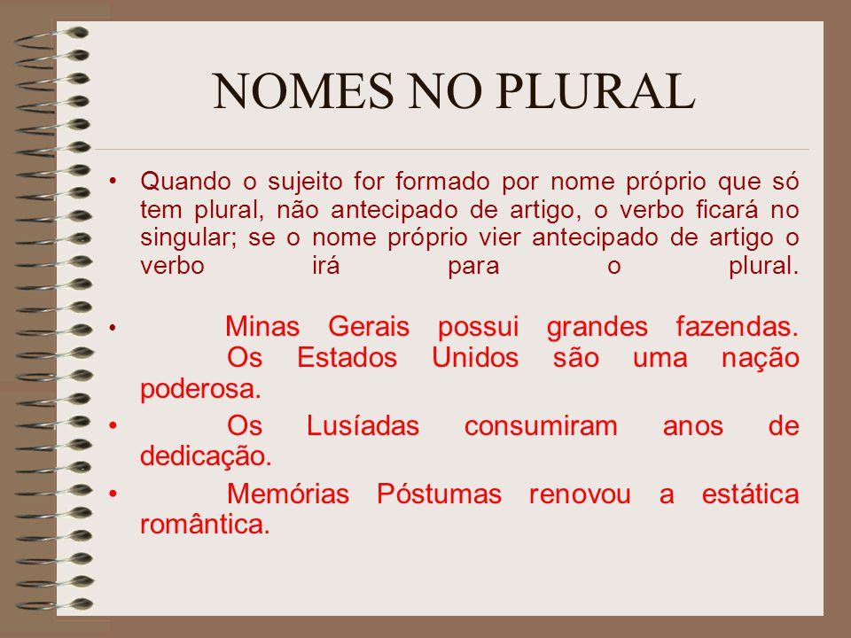 NOMES NO PLURAL Quando o sujeito for formado por nome próprio que só tem plural, não antecipado de artigo, o verbo ficará no singular; se o nome própr