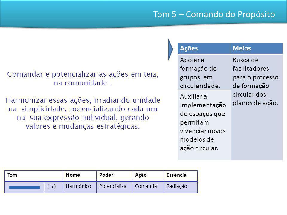 Tom 5 – Comando do Propósito Comandar e potencializar as ações em teia, na comunidade. Harmonizar essas ações, irradiando unidade na simplicidade, pot