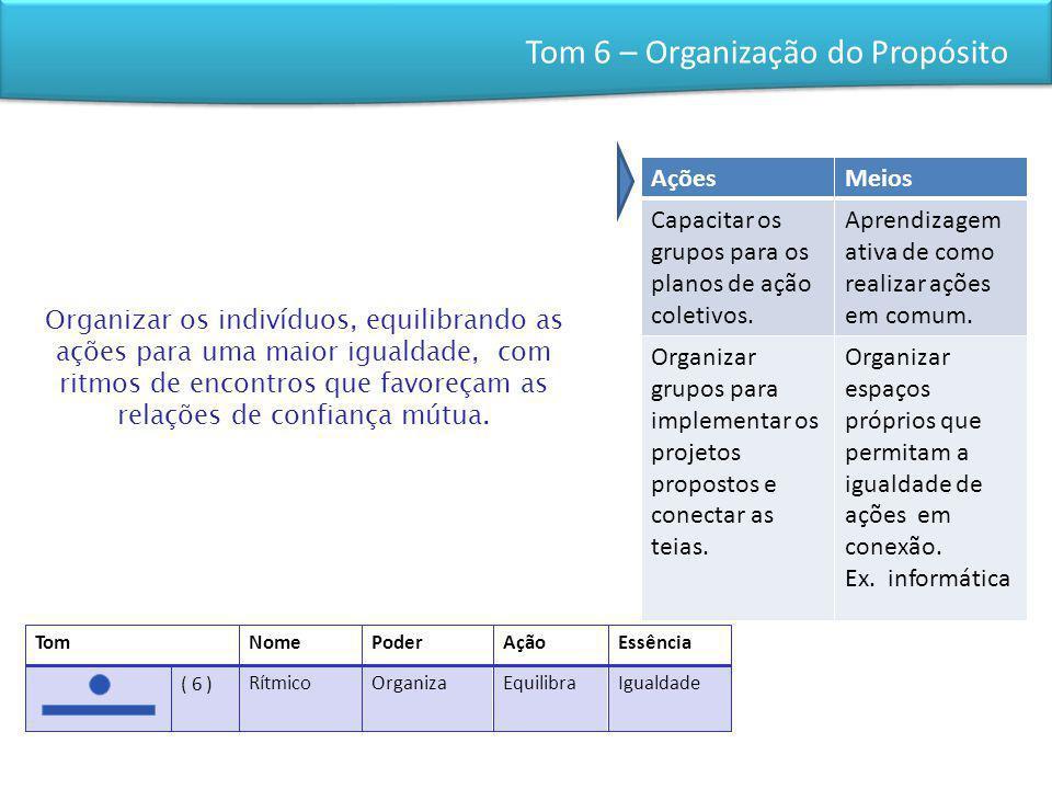 Tom 6 – Organização do Propósito Organizar os indivíduos, equilibrando as ações para uma maior igualdade, com ritmos de encontros que favoreçam as relações de confiança mútua.