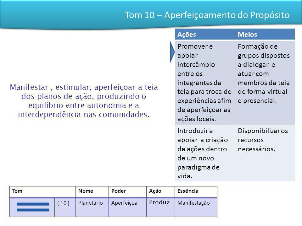 Tom 10 – Aperfeiçoamento do Propósito Manifestar, estimular, aperfeiçoar a teia dos planos de ação, produzindo o equilíbrio entre autonomia e a interd