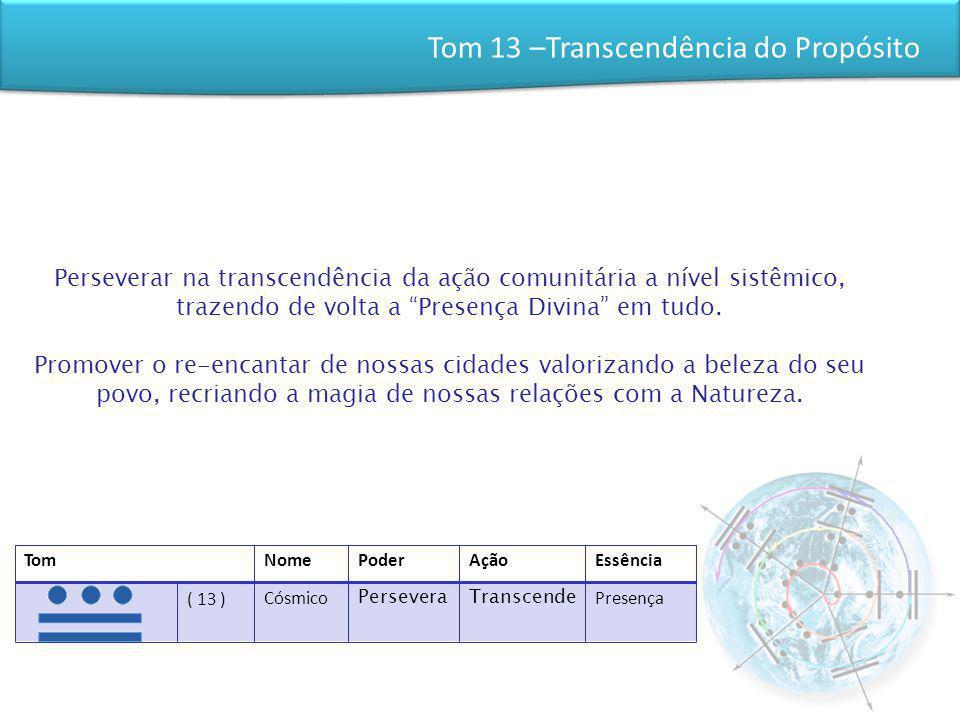 Tom 13 –Transcendência do Propósito Perseverar na transcendência da ação comunitária a nível sistêmico, trazendo de volta a Presença Divina em tudo. P