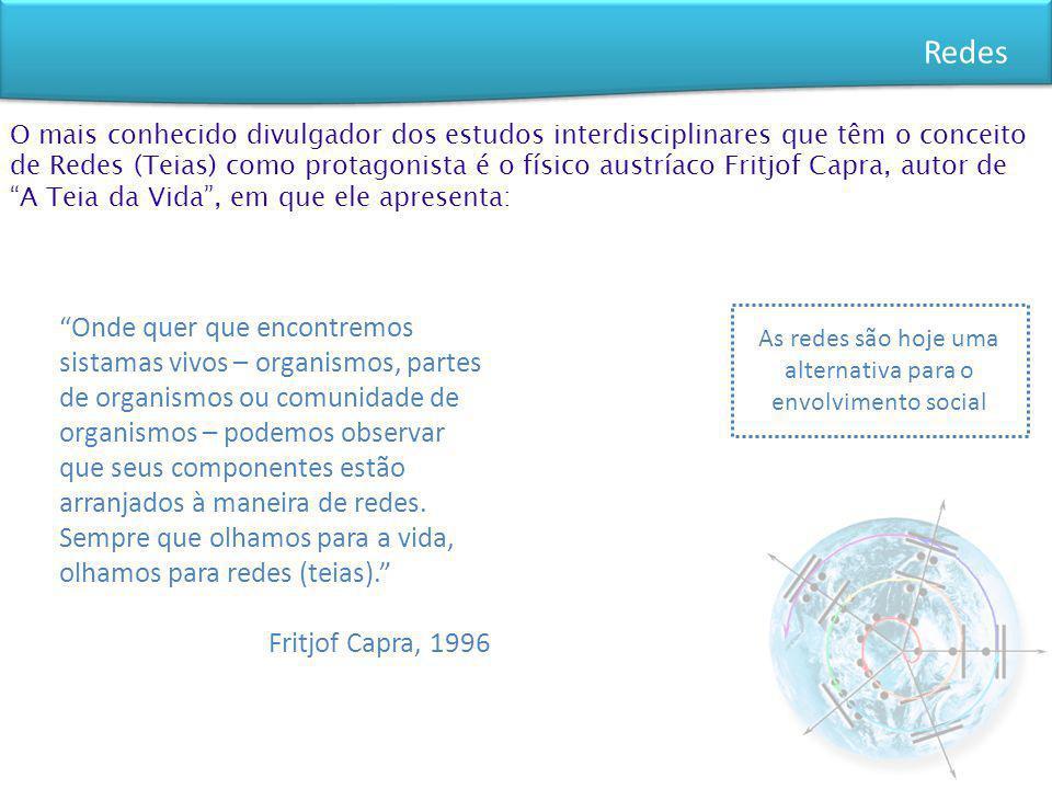Redes O mais conhecido divulgador dos estudos interdisciplinares que têm o conceito de Redes (Teias) como protagonista é o físico austríaco Fritjof Ca
