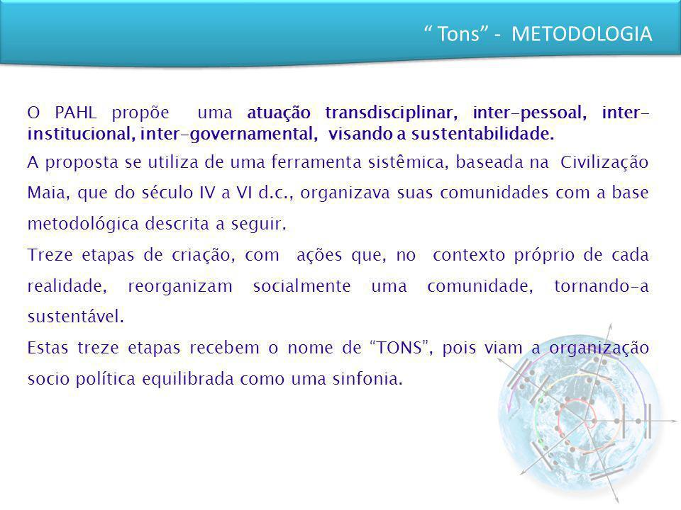 Tons - METODOLOGIA O PAHL propõe uma atuação transdisciplinar, inter-pessoal, inter- institucional, inter-governamental, visando a sustentabilidade. A
