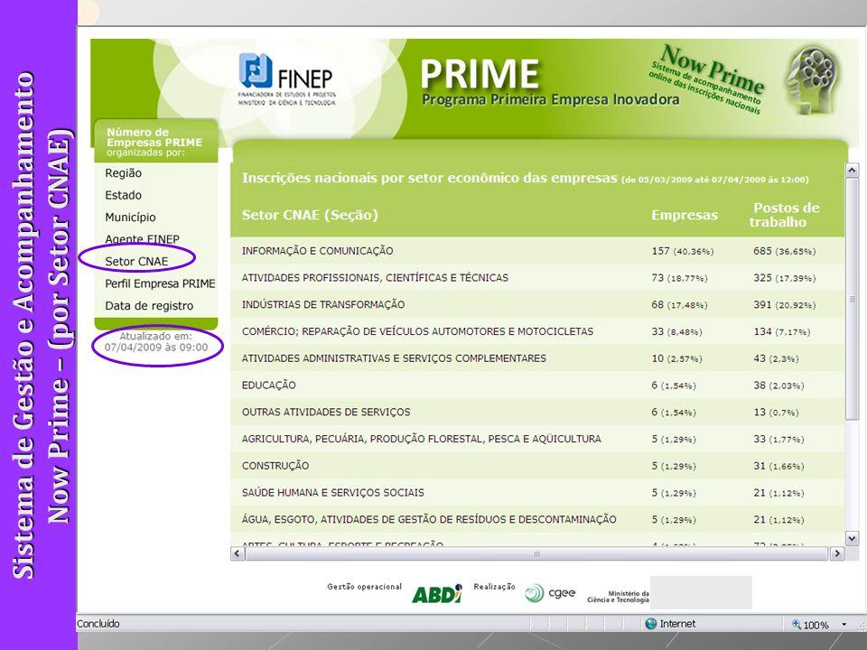 Sistema de Gestão e Acompanhamento Now Prime – (por Setor CNAE)