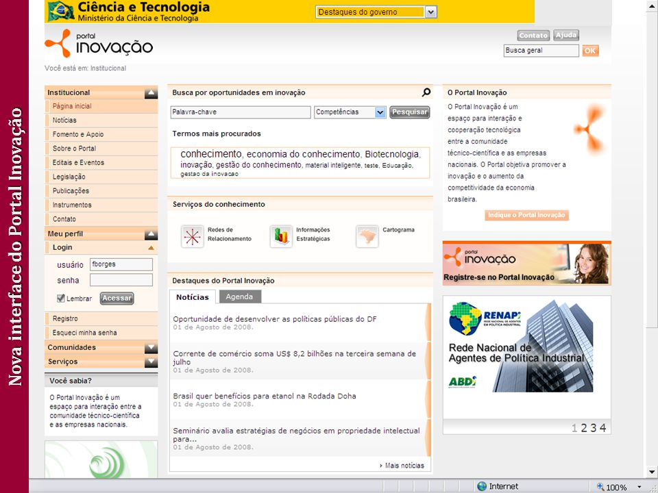 Nova interface do Portal Inovação