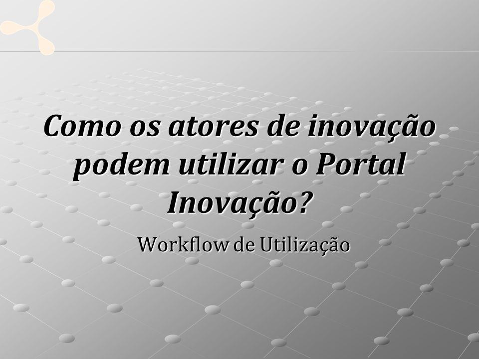 Como os atores de inovação podem utilizar o Portal Inovação Workflow de Utilização