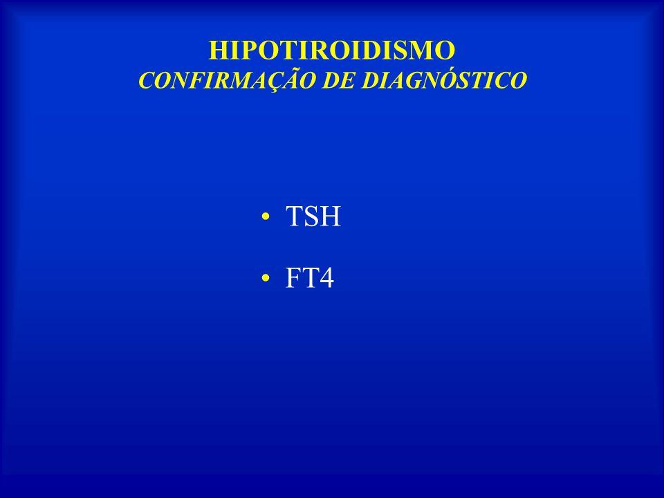HIPOTIROIDISMO CONFIRMAÇÃO DE DIAGNÓSTICO TSH FT4