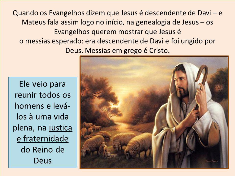 Quando os Evangelhos dizem que Jesus é descendente de Davi – e Mateus fala assim logo no início, na genealogia de Jesus – os Evangelhos querem mostrar