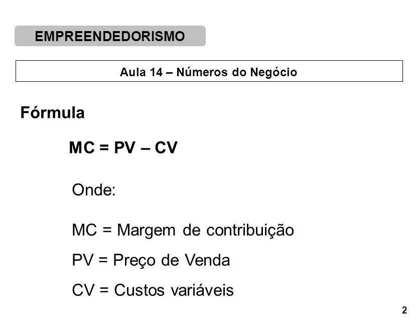 EMPREENDEDORISMO 2 Aula 14 – Números do Negócio Fórmula MC = PV – CV Onde: MC = Margem de contribuição PV = Preço de Venda CV = Custos variáveis