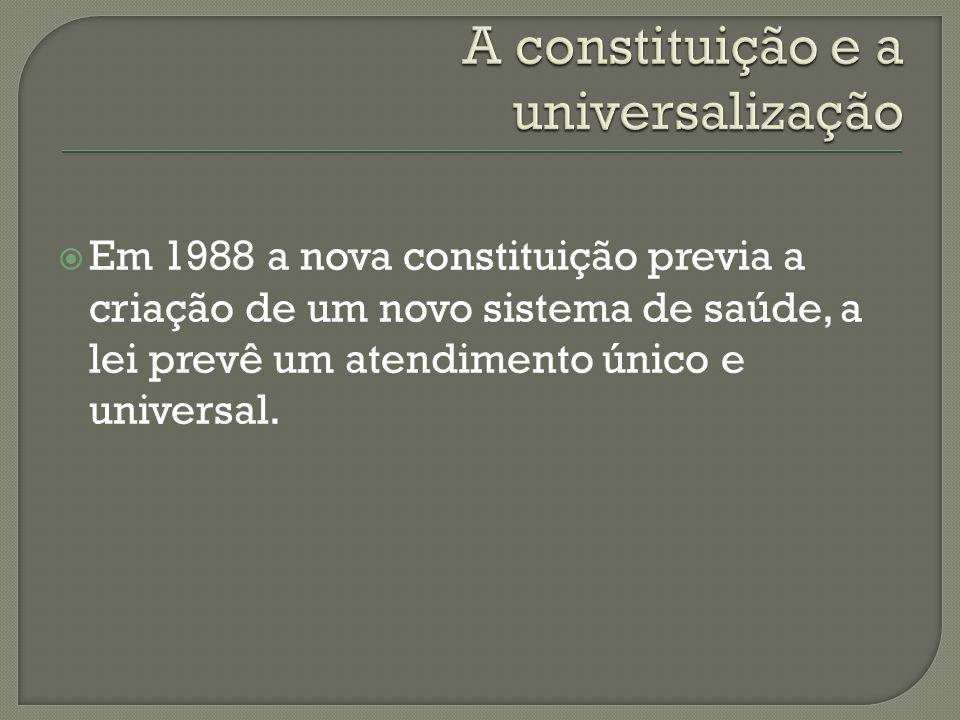 Universal – deve atingir amplamente e irrestritamente a todos os cidadãos, independentemente da classe social, com financiamento público e alcançando uma enorme gama de vertentes da saúde.
