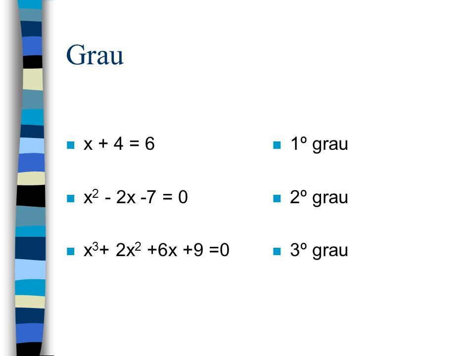 Revisão Grau de uma equação