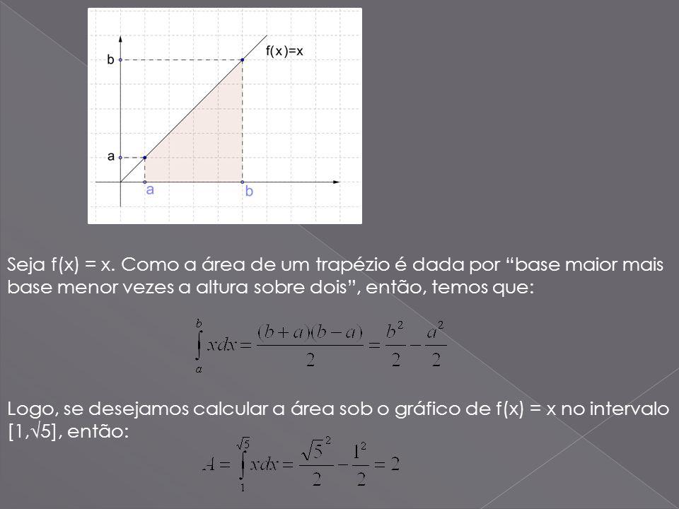 Seja f(x) = x. Como a área de um trapézio é dada por base maior mais base menor vezes a altura sobre dois, então, temos que: Logo, se desejamos calcul