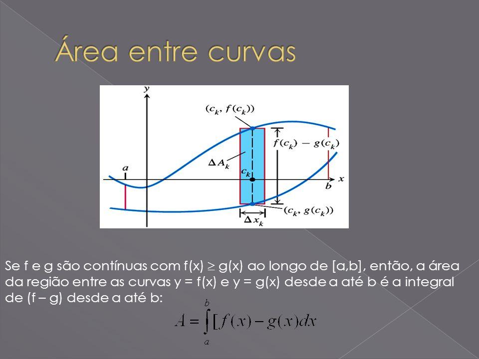 Se f e g são contínuas com f(x) g(x) ao longo de [a,b], então, a área da região entre as curvas y = f(x) e y = g(x) desde a até b é a integral de (f –