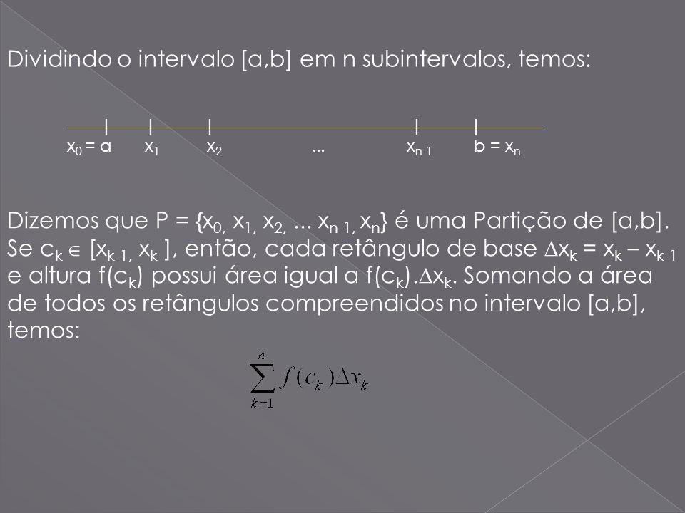 | | | | | x 0 = a x 1 x 2... x n-1 b = x n Dividindo o intervalo [a,b] em n subintervalos, temos: Dizemos que P = {x 0, x 1, x 2,... x n-1, x n } é um