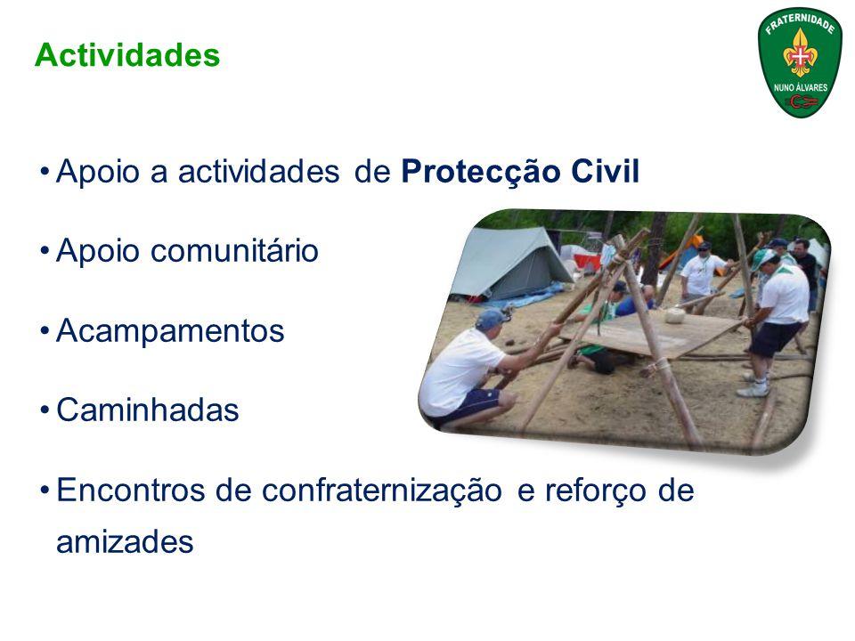 Apoio a actividades de Protecção Civil Apoio comunitário Acampamentos Caminhadas Encontros de confraternização e reforço de amizades Actividades