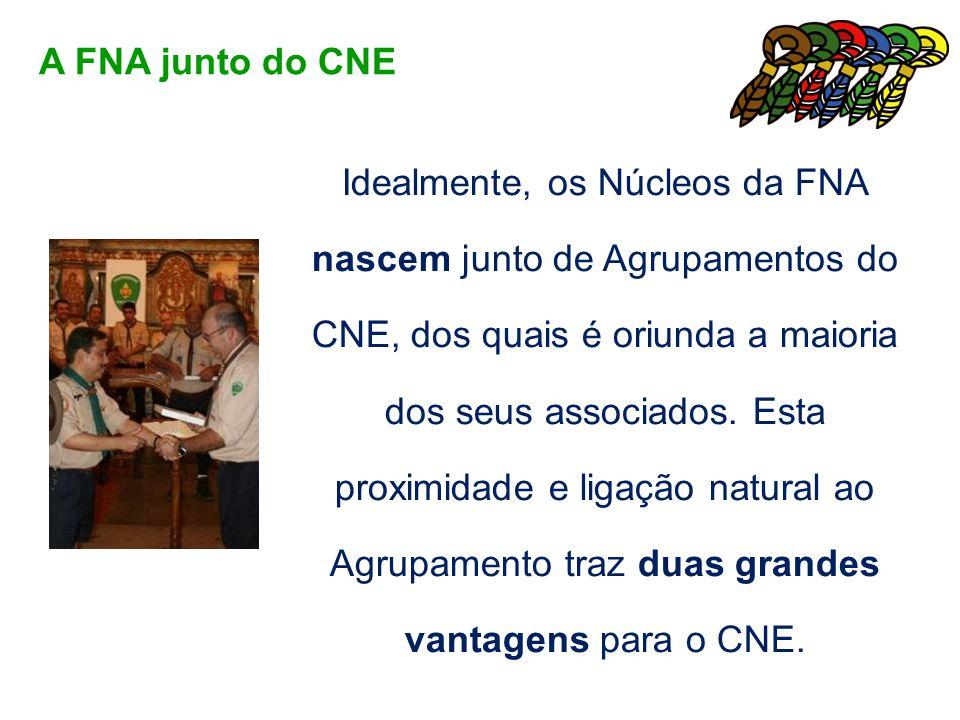 Idealmente, os Núcleos da FNA nascem junto de Agrupamentos do CNE, dos quais é oriunda a maioria dos seus associados. Esta proximidade e ligação natur