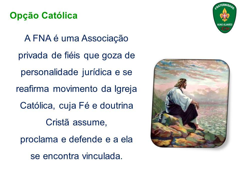 A FNA é uma Associação privada de fiéis que goza de personalidade jurídica e se reafirma movimento da Igreja Católica, cuja Fé e doutrina Cristã assum