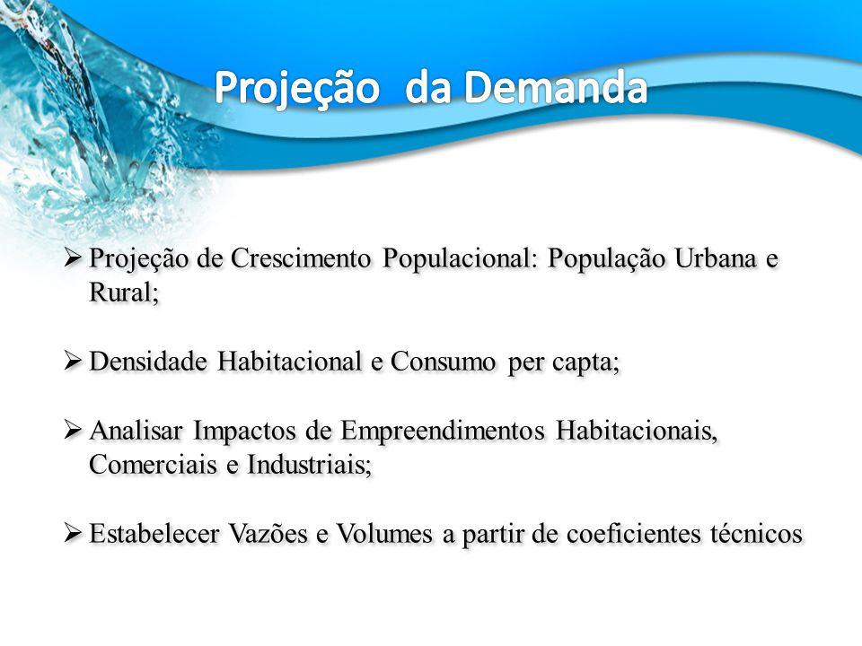 Projeção de Crescimento Populacional: População Urbana e Rural; Densidade Habitacional e Consumo per capta; Analisar Impactos de Empreendimentos Habitacionais, Comerciais e Industriais; Estabelecer Vazões e Volumes a partir de coeficientes técnicos Projeção de Crescimento Populacional: População Urbana e Rural; Densidade Habitacional e Consumo per capta; Analisar Impactos de Empreendimentos Habitacionais, Comerciais e Industriais; Estabelecer Vazões e Volumes a partir de coeficientes técnicos