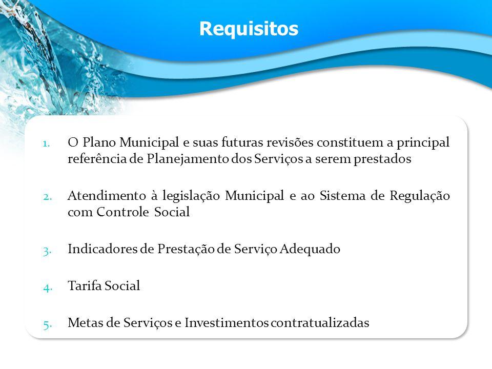 Requisitos 1. O Plano Municipal e suas futuras revisões constituem a principal referência de Planejamento dos Serviços a serem prestados 2. Atendiment