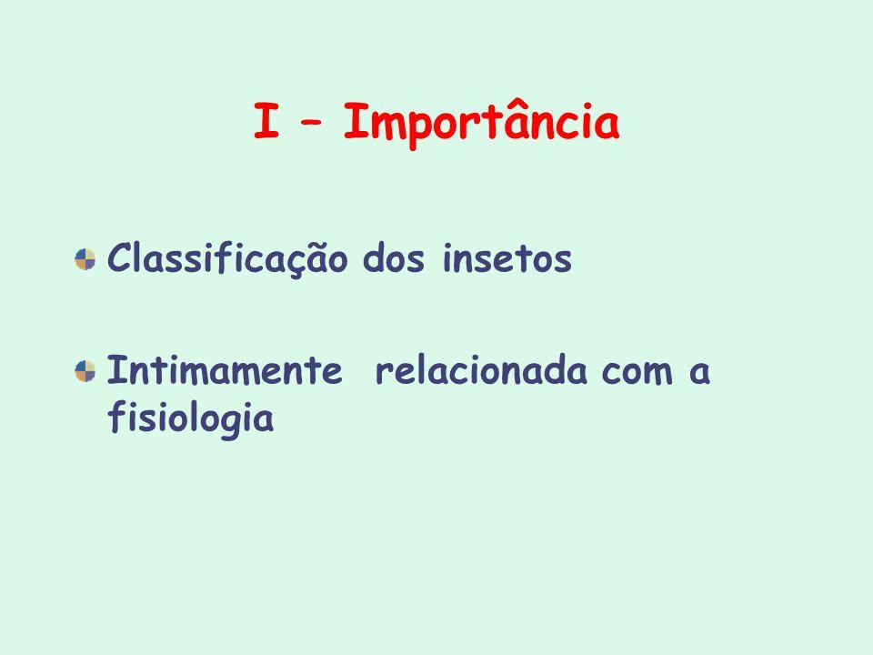 I – Importância Classificação dos insetos Intimamente relacionada com a fisiologia