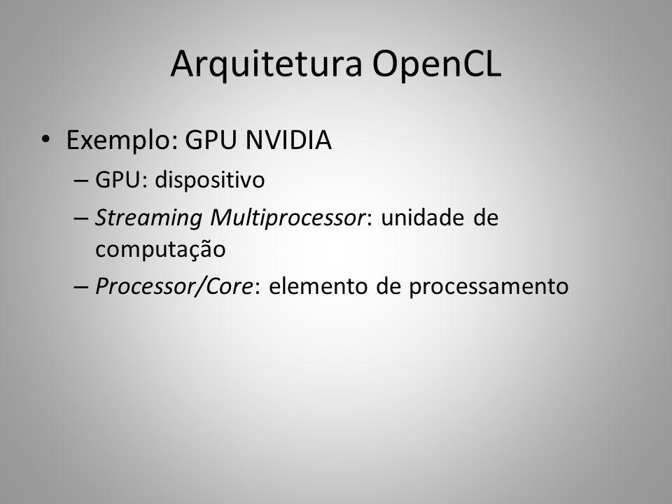 Arquitetura OpenCL Exemplo: GPU NVIDIA – GPU: dispositivo – Streaming Multiprocessor: unidade de computação – Processor/Core: elemento de processament