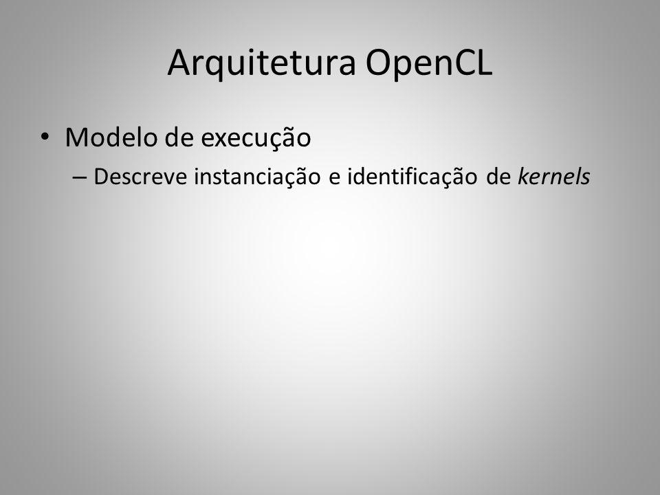 Arquitetura OpenCL Modelo de execução – Descreve instanciação e identificação de kernels