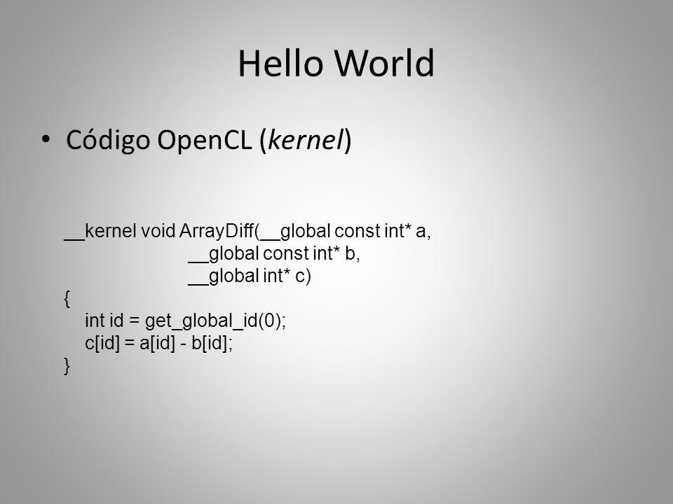 Interoperação com OpenGL Em GPUs, é possível compartilhar estruturas entre OpenCL e OpenGL Exemplo prático: malha tridimensional – Vértices posicionados via OpenCL – Exibição via OpenGL – Compartilhamento de Vertex Buffer Object (VBO) OpenCL: array de float4