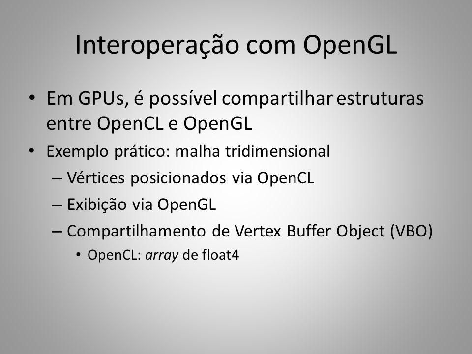Interoperação com OpenGL Em GPUs, é possível compartilhar estruturas entre OpenCL e OpenGL Exemplo prático: malha tridimensional – Vértices posicionad