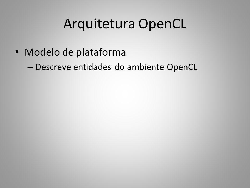 Arquitetura OpenCL Modelo de execução: objetos – Toda comunicação com um dispositivo é feita através da sua fila de comandos – Objetos de memória Buffers: acesso direto via ponteiros Images: acesso especial via samplers