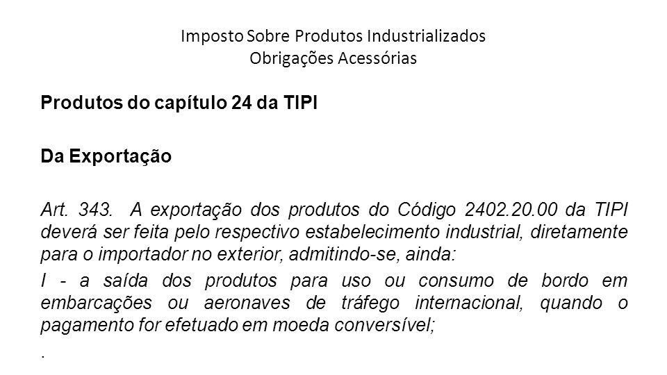 Imposto Sobre Produtos Industrializados Obrigações Acessórias Produtos do capítulo 24 da TIPI Da Exportação Art.