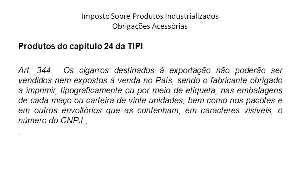 Imposto Sobre Produtos Industrializados Obrigações Acessórias Produtos do capítulo 24 da TIPI Art.