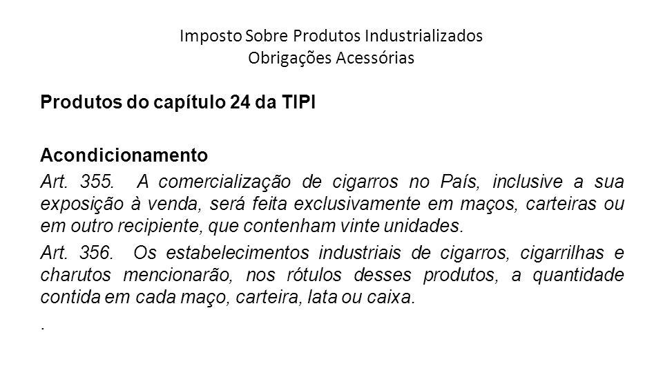 Imposto Sobre Produtos Industrializados Obrigações Acessórias Produtos do capítulo 24 da TIPI Acondicionamento Art.