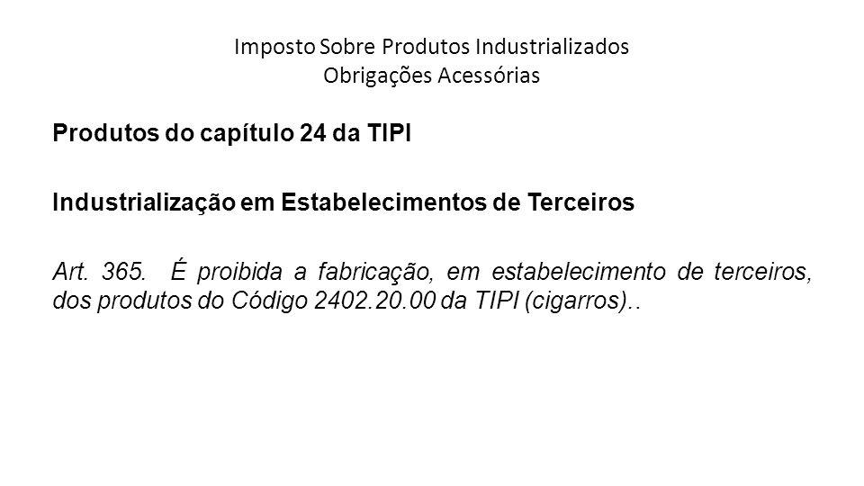 Imposto Sobre Produtos Industrializados Obrigações Acessórias Produtos do capítulo 24 da TIPI Industrialização em Estabelecimentos de Terceiros Art.