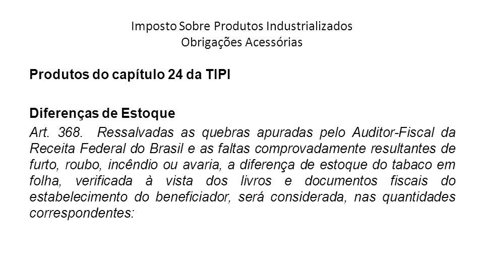 Imposto Sobre Produtos Industrializados Obrigações Acessórias Produtos do capítulo 24 da TIPI Diferenças de Estoque Art.