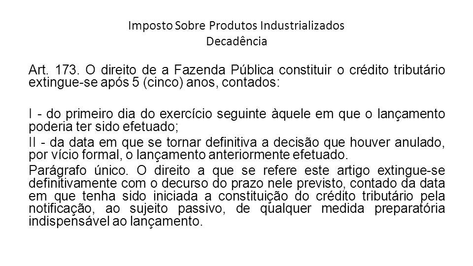 Imposto Sobre Produtos Industrializados Decadência Art.