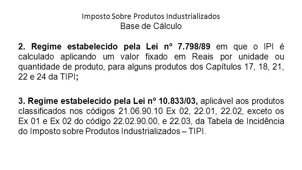 Imposto Sobre Produtos Industrializados Base de Cálculo 2.
