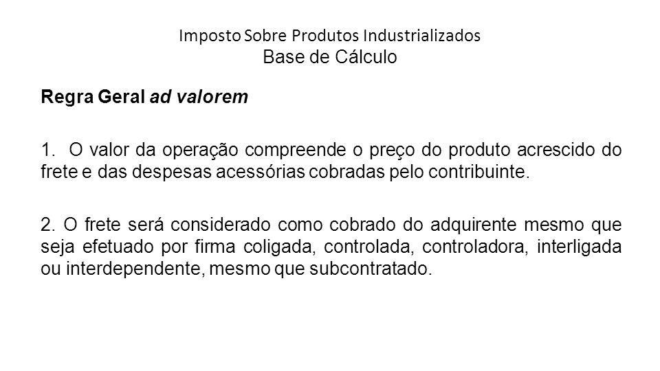 Imposto Sobre Produtos Industrializados Base de Cálculo Regra Geral ad valorem 1.
