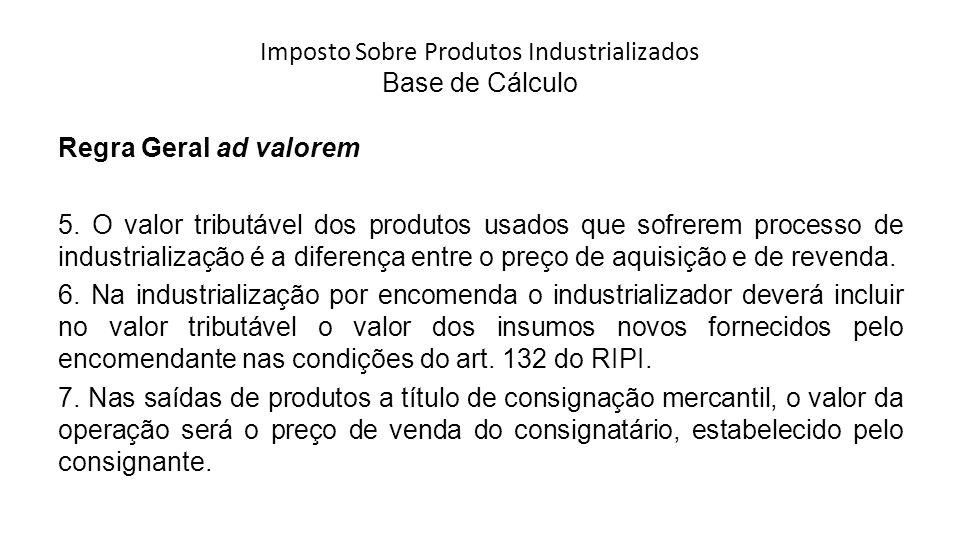 Imposto Sobre Produtos Industrializados Base de Cálculo Regra Geral ad valorem 5.