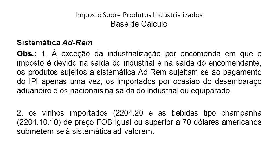 Imposto Sobre Produtos Industrializados Base de Cálculo Sistemática Ad-Rem Obs.: 1.