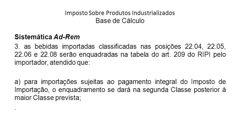 Imposto Sobre Produtos Industrializados Base de Cálculo Sistemática Ad-Rem 3.