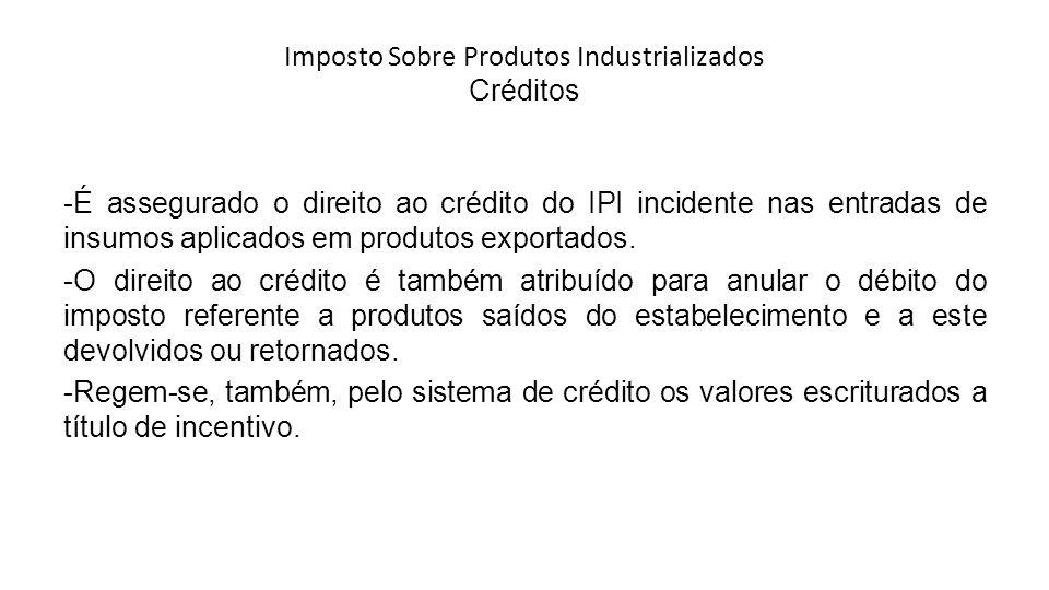 Imposto Sobre Produtos Industrializados Créditos -É assegurado o direito ao crédito do IPI incidente nas entradas de insumos aplicados em produtos exportados.