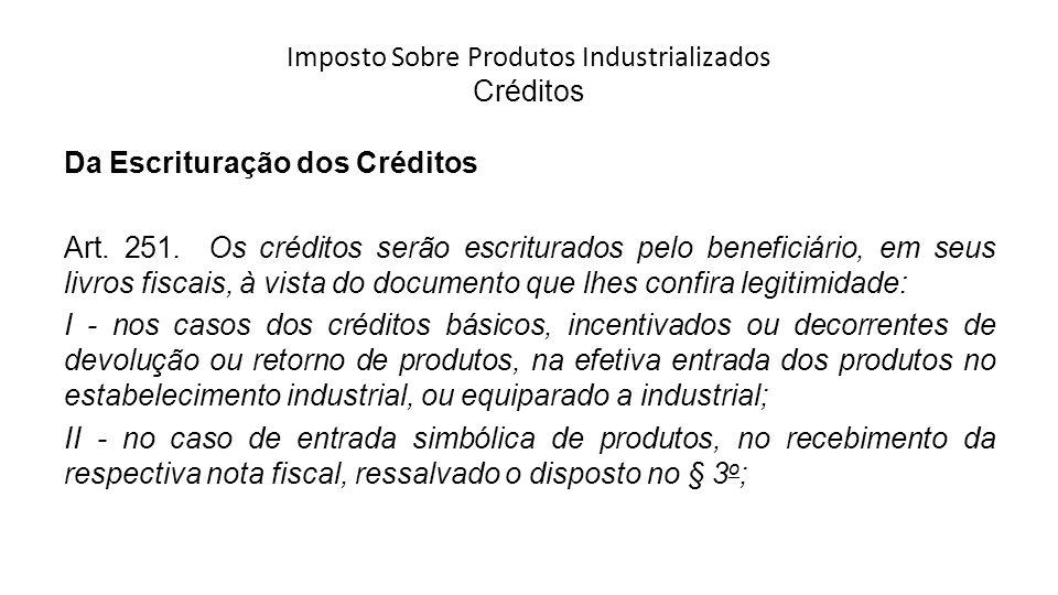 Imposto Sobre Produtos Industrializados Créditos Da Escrituração dos Créditos Art.