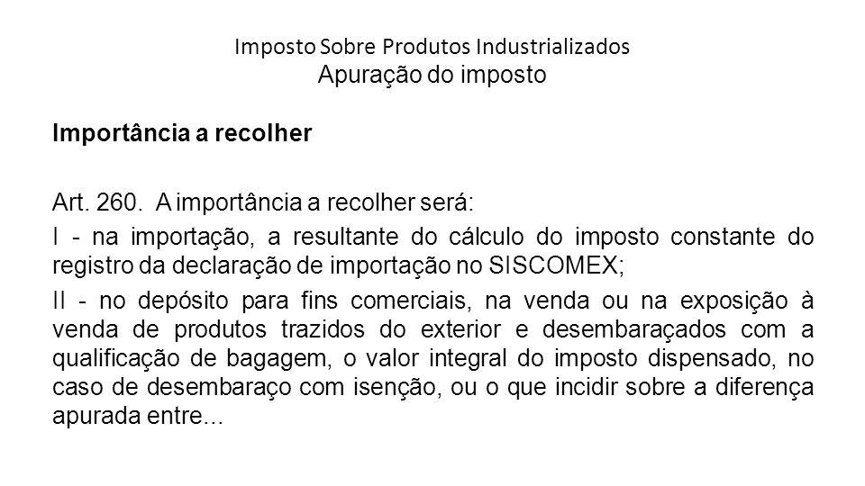 Imposto Sobre Produtos Industrializados Apuração do imposto Importância a recolher Art.