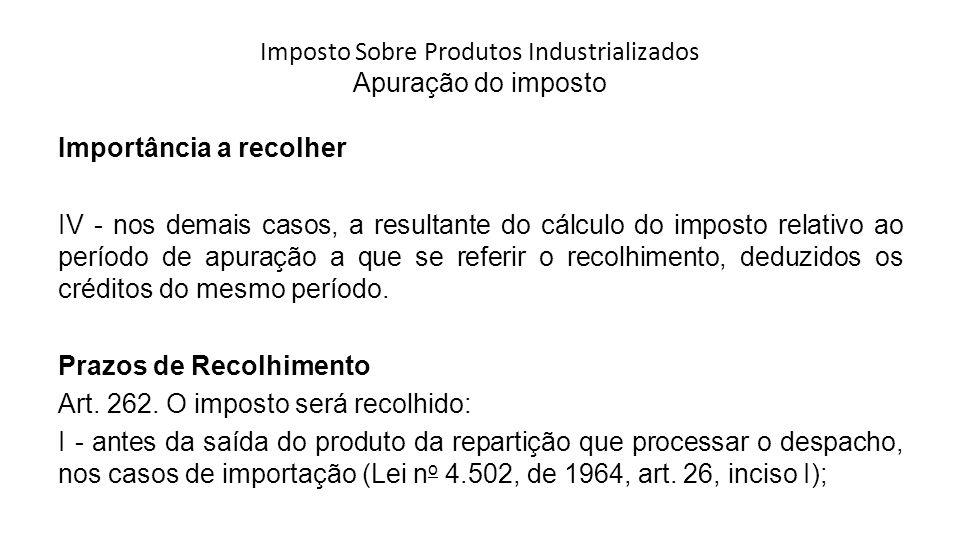 Imposto Sobre Produtos Industrializados Apuração do imposto Importância a recolher IV - nos demais casos, a resultante do cálculo do imposto relativo ao período de apuração a que se referir o recolhimento, deduzidos os créditos do mesmo período.