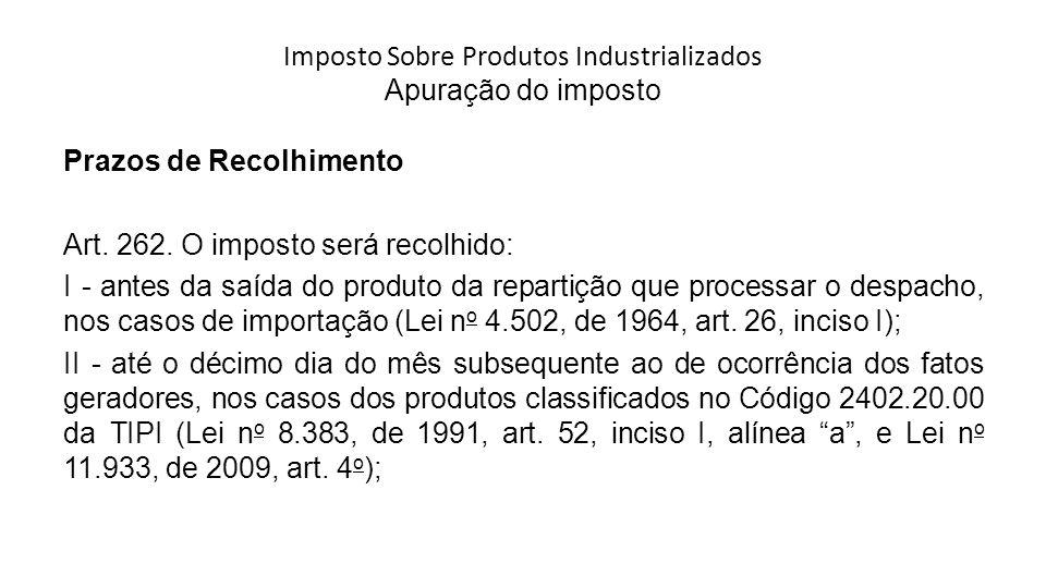 Imposto Sobre Produtos Industrializados Apuração do imposto Prazos de Recolhimento Art.