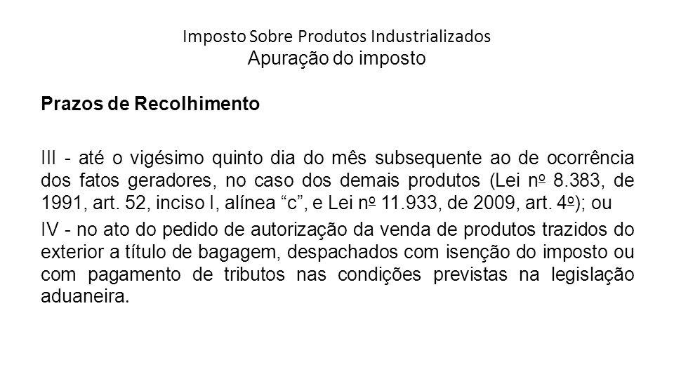 Imposto Sobre Produtos Industrializados Apuração do imposto Prazos de Recolhimento III - até o vigésimo quinto dia do mês subsequente ao de ocorrência dos fatos geradores, no caso dos demais produtos (Lei n o 8.383, de 1991, art.